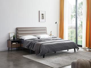 喔木居 麦考系列 极简系列 E1级环保面板 实木床腿 高密度海绵填充 极致性价比 1.8米高箱床