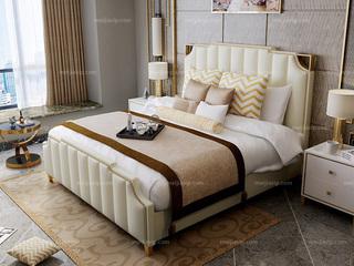 慕梵希 轻奢舒适版米白色 高端纳帕皮 北美进口落叶松坚固框架 C02 1.8米高箱床