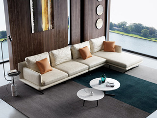 极简风格 T29沙发米黄色 科技布 羽绒沙发(1+3+左贵妃)沙发组合