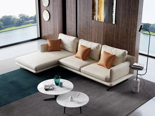 诺美帝斯 极简风格 T29沙发米黄色 科技布 羽绒沙发(3+右贵妃)沙发组合