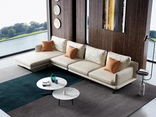 诺美帝斯 极简风格 T29沙发米黄色 科技布 羽绒沙发(1+3+右贵妃)沙发组合