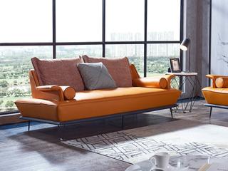极简风格 T30沙发爱马仕橙 北美进口落叶松 高端纳帕皮 高密度海绵座包 双扶手2人位沙发