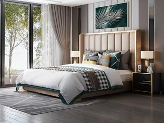 慕梵希 轻奢风格 A22床1.5*2.0米豪华版纳帕皮 北美进口落叶松框架床