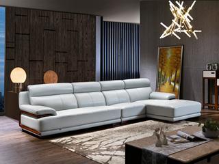 简悦之家 现代简约 烟灰色 高仿真皮 橡木扶手装饰C668沙发(1+3+左贵妃)组合沙发