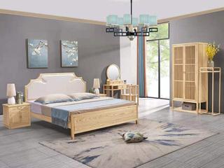 志盛木业 中式风格 北美进口白蜡木 原木色花架