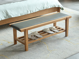 荣之鼎 北欧风格 北美进口白腊木床尾凳