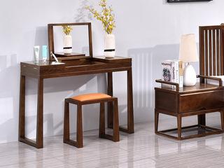志盛木业 中式风格 北美进口白蜡木 胡桃色妆凳