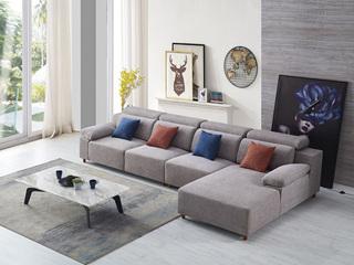 纾康 现代简约 优质麻布布艺沙发 进口落叶松坚固框架沙发组合(1+2+左贵妃)