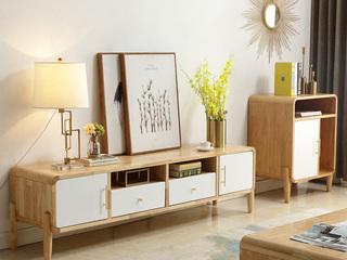 北欧风格 泰国进口橡胶木电视柜