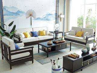 新中式风格 泰国进口橡胶木+布坐垫沙发组合(1+2+3)