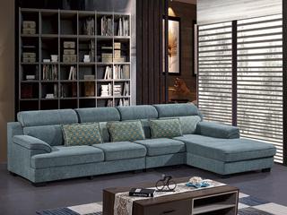 怡都 现代简约 雪尼尔 进口松木铺板坚固框架 沙发组合(1+3+左贵妃)