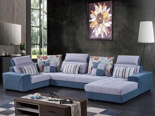 怡都 现代简约 植绒 进口松木铺板坚固框架,整体海绵 沙发组合(1+3+左贵妃+转角)