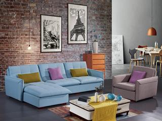 怡都 现代简约 优质棉麻布艺 进口松木铺板坚固框架 沙发组合(双扶手单人位+3+左贵妃)