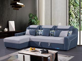 怡都 现代简约 优质棉麻布艺 进口松木铺板坚固框架 沙发组合(3+左贵妃)