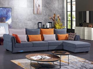 怡都 现代简约 舒服绒 进口松木铺板坚固框架 沙发组合(1+3+左贵妃)