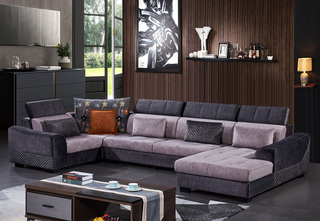 怡都 现代简约 科技绒 进口松木铺板坚固框架 沙发组合(1+3+左贵妃+转角)