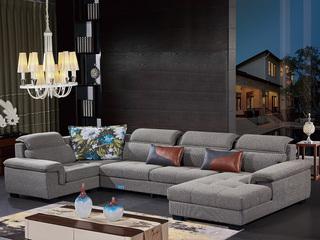 怡都 现代简约 优质棉麻布艺 进口松木铺板坚固框架 沙发组合(1+3+左贵妃+转角)