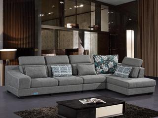 怡都 现代简约 优质棉麻布艺 进口松木铺板坚固框架 沙发组合(1+3+左贵妃)