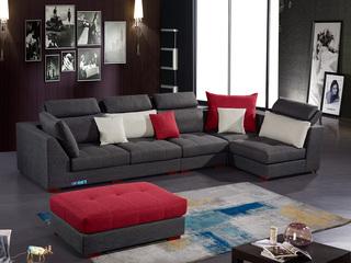 怡都 现代简约 优质棉麻布艺 进口松木边框 高回弹加羽绒 +乳胶 沙发组合(1+1+3+左转角位+脚踏)