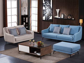 怡都 现代简约 优质棉麻布艺 进口松木铺板坚固框架 沙发组合(2+3+脚踏)