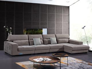 怡都 现代简约 优质棉麻布艺 进口松木边框 高回弹加羽绒+乳胶  沙发组合(1+1+1+左贵妃)