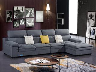 怡都 现代简约 优质棉麻布艺 进口松木边框  高回弹加羽绒  沙发组合(1+3+贵妃)