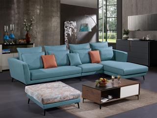 怡都 现代简约 科技布(面料) 进口松木边框沙发组合(1+3+左贵妃)