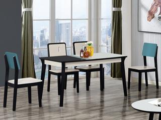 怡都 现代简约 钢化玻璃台面 实木框架B-19B餐桌