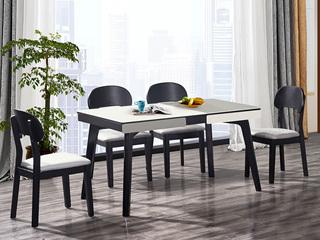 怡都 现代简约 钢化玻璃台面 餐桌