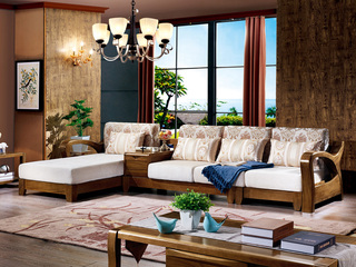 纯典 中式风格 北美进口胡桃木 优质棉麻布艺沙发 转角沙发(不带茶水柜) (不分左右贵妃)