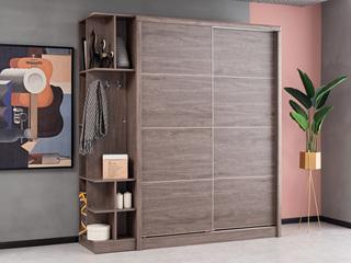 现代简约 高级灰 储物家用 1.6米趟门衣柜(不含左侧边柜)