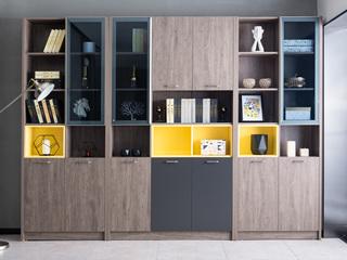 科隆印象 现代简约 高级灰 钢化玻璃 三门书柜(中间)