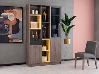 科隆印象 现代简约 高级灰 钢化玻璃 间厅柜
