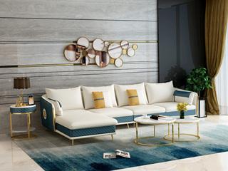 芬洛 轻奢风格 高端纳帕皮 北美进口落叶松框架 D01沙发组合 (1+3+右贵妃)
