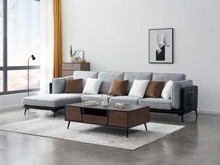 麦考系列 喔木居 麦考系列 现代轻奢风格 高密度海绵填充 舒适透气型布艺 布艺沙发大小户型组合 极简转角沙发(3+右贵妃)