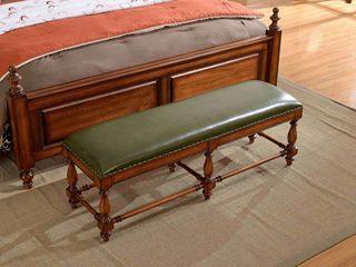 澳菲娅 简美风格 北美鹅掌楸木 头层油腊皮 床尾凳