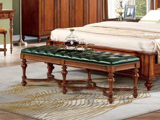 澳菲娅 简美风格 北美鹅掌楸木 头层油蜡皮 床尾凳