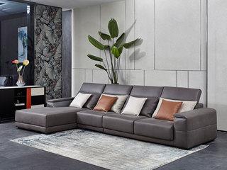 芬洛 现代简约 进口鸵鸟纹科技布面料 座包带活动伸缩功能 温馨灵活 转角沙发(1+3+右贵妃)