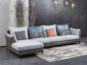 芬洛 现代简约 科技布+棉麻转角沙发(1+3+右贵妃)