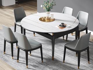 现代简约 劳伦白金 2260岩板 1.2米餐桌