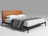 奢工 潮品系列 极简风格 801床 1.8*2.0米 橙色 头层黄牛皮床