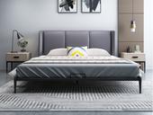 奢工 潮品系列 极简风格 803床 1.8*2.0米 烟灰色 头层黄牛皮床