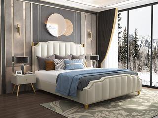 轻奢系列 仿真皮 207 米白色1.8米皮艺床
