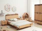 北欧印象 北欧风格 榉木坚固框架 手工木蜡油工艺 曲奇色 ET6102儿童床 1.5*1.9米儿童床