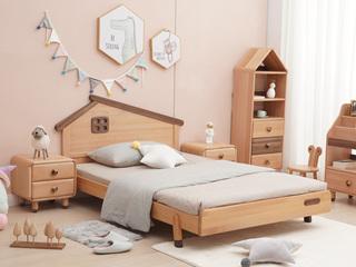 北欧风格 榉木坚固框架 手工木蜡油工艺 曲奇色 ET6103儿童床 1.2*1.9米儿童床