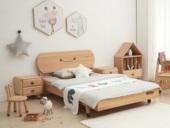 北欧印象 北欧风格 榉木坚固框架 手工木蜡油工艺 曲奇色 ET6110儿童床 1.2*1.9米儿童床