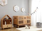 北欧印象 北欧风格 榉木坚固框架 手工木蜡油工艺 曲奇色 ET6106婴儿床