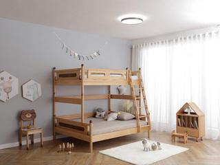 北欧风格 榉木坚固框架 手工木蜡油工艺 曲奇色 ET6109子母床