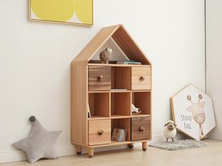 北欧印象 北欧风格 榉木坚固框架 手工木蜡油工艺 曲奇色 ET6506中书柜