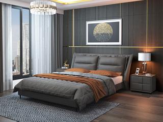 现代简约 仿真皮 灰色1.8*2.0米床